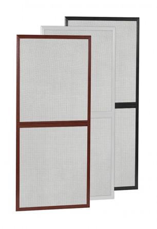 Aluminiowe drzwi moskitierowe na zawiasach w kolorze białym brązowym lub antracytowym