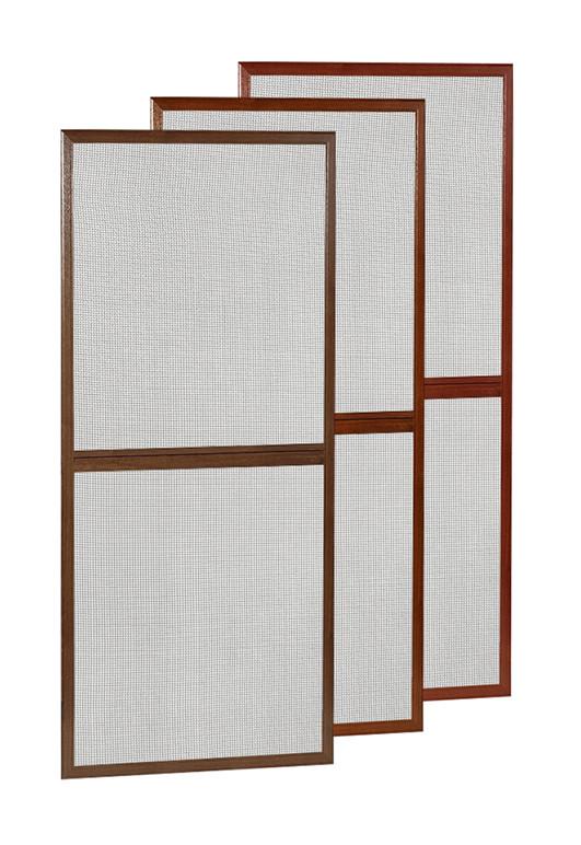 Aluminiowe drzwi moskitierowe na zawiasach samodomykających w kolorze drewnopodobnym (złoty dąb, orzech, dąb bagienny)