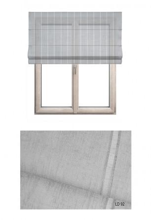 Roleta rzymska w tkaninie transparentnej o ozdobnych pionowych paseczkach w kolorze szarym (LT92).