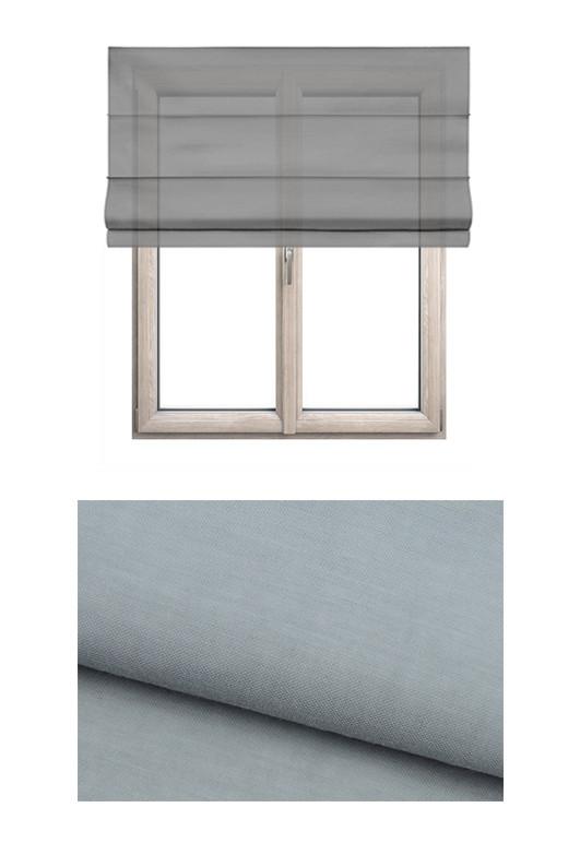 Roleta rzymska o gładkiej transparentnej tkaninie w kolorze szarym (GI92) na wymiar.