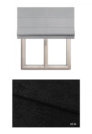 Roleta rzymska zaciemniająca o grubej i miękkiej tkaninie w kolorze czarnym (NS94) na wymiar.