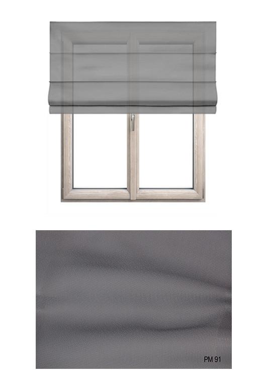 Roleta rzymska transparentna o gładkiej strukturze w kolorze szarym (PM91) na Twój dokładny wymiar.