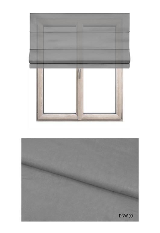 Roleta rzymska w delikatnej firankowej tkaninie transparentnej w kolorze szarym (DNW90).