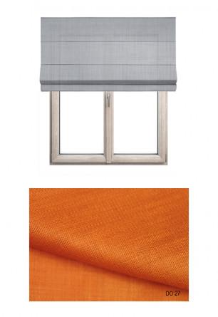 Roleta rzymska zaciemniająca o naturalnym widocznym splocie w kolorze pomarańczowym (DO27) na wymiar.
