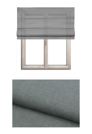 Roleta rzymska o gładkiej transparentnej tkaninie w kolorze szarym (GI90) na wymiar.