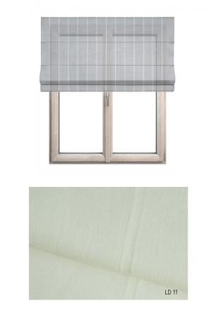 Roleta rzymska w tkaninie transparentnej o ozdobnych pionowych paseczkach w kolorze ecru (LT11).