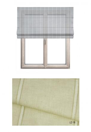 Roleta rzymska w tkaninie transparentnej o ozdobnych pionowych paseczkach (LT18).
