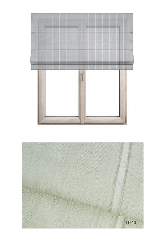 Roleta rzymska w tkaninie transparentnej o ozdobnych pionowych paseczkach (LT13).