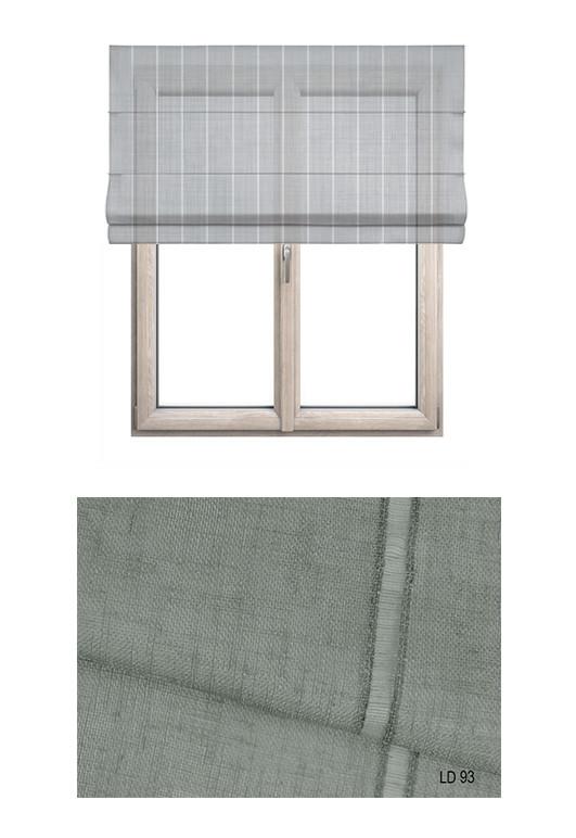 Roleta rzymska w tkaninie transparentnej o ozdobnych pionowych paseczkach o odcieniu szarym (LT93).