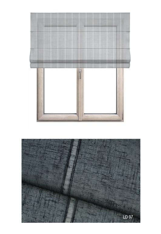 Roleta rzymska w tkaninie transparentnej o ozdobnych pionowych paseczkach o ciemnym szarym odcieniu (LT97).