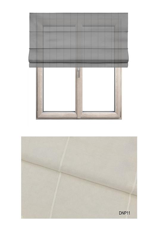 Roleta rzymska w tkaninie transparentnej o ozdobnych pionowych paseczkach w odcieniu ecru (DNP11).