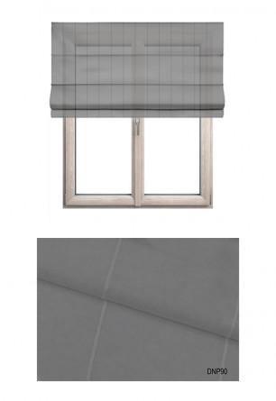 Roleta rzymska w tkaninie transparentnej o ozdobnych pionowych paseczkach w szarym odcieniu (DNP90).