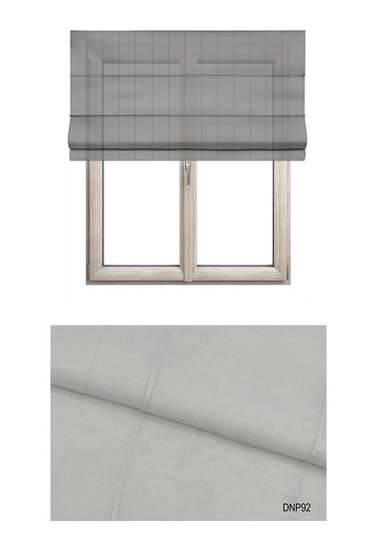 Roleta rzymska w tkaninie transparentnej o ozdobnych pionowych paseczkach w kolorze szarym (DNP92).