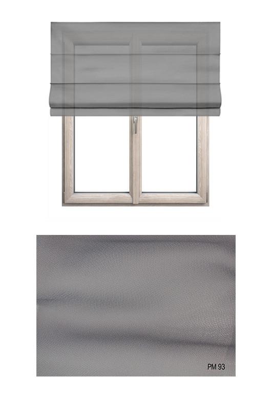 Roleta rzymska transparentna o gładkiej strukturze w kolorze szarym (PM93) na Twój dokładny wymiar.