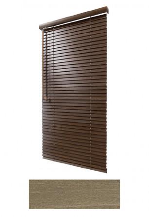 Żaluzja drewniana 25mm na wymiar w chłodnym kolorze naturalnego drewna (OLIWKOWY) na wymiar.