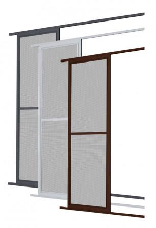 Aluminiowe drzwi moskitierowe przesuwne w kolorze białym brązowym lub antracytowym