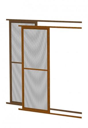Aluminiowe drzwi moskitierowe przesuwne w kolorze złoty dąb lub orzech
