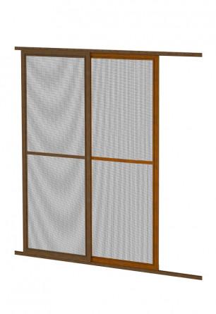 Aluminiowe drzwi moskitierowe przesuwne w kolorze złoty dąb lub orzech na wymiar