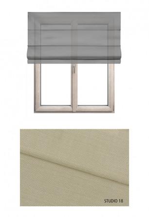Roleta rzymska w tkaninie transparentnej o beżowym kolorze (S18) na wymiar.