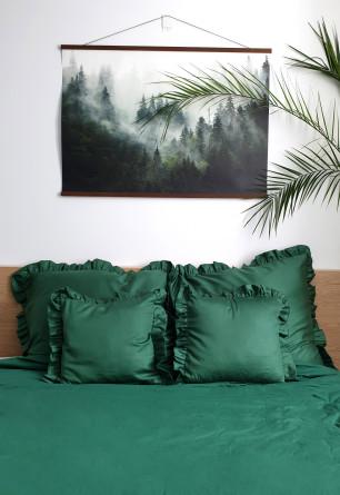 Pięcio częściowy komplet pościeli sen o lesie w kolorze butelkowej zieleni 200x220 SEN O LESIE
