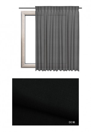 Zasłona na haczykach microfleks w tkaninie o czarnym odcieniu (DO96) z kolekcji DOMOWA OSTOJA na wymiar.