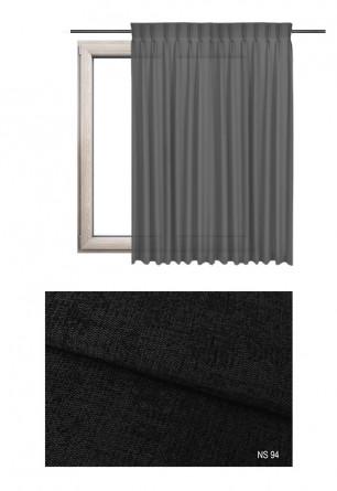 Zasłona na haczykach microfleks w zaciemniającej tkaninie o czarnym odcieniu (NS94) z kolekcji NA SALONACH na wymiar.