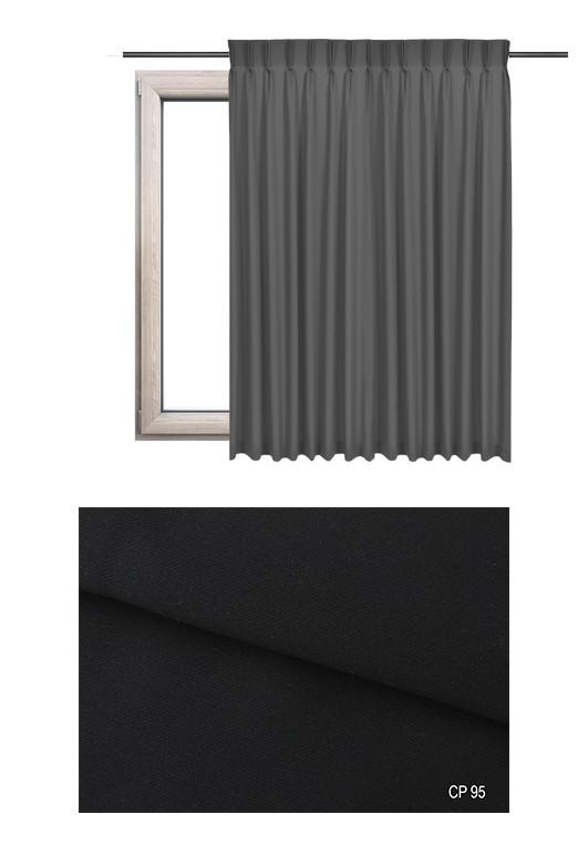 Zasłona na haczykach microfleks w pełni zaciemniającej tkaninie (90-100%) w czarnym odcieniu (CP95) na wymiar.