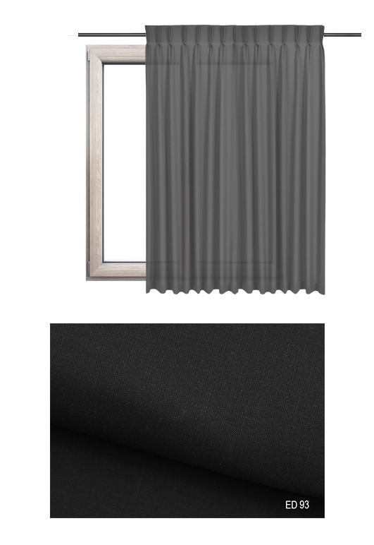 Zasłona na haczykach microfleks w gładkiej lekko błyszczącej tkaninie o czarnym odcieniu kolorystycznym (ED93) na wymiar.