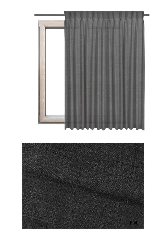 Zasłona na haczykach microfleks o ciemno szarym odcieniu kolorystycznym (B94) z kolekcji BOHO na wymiar.