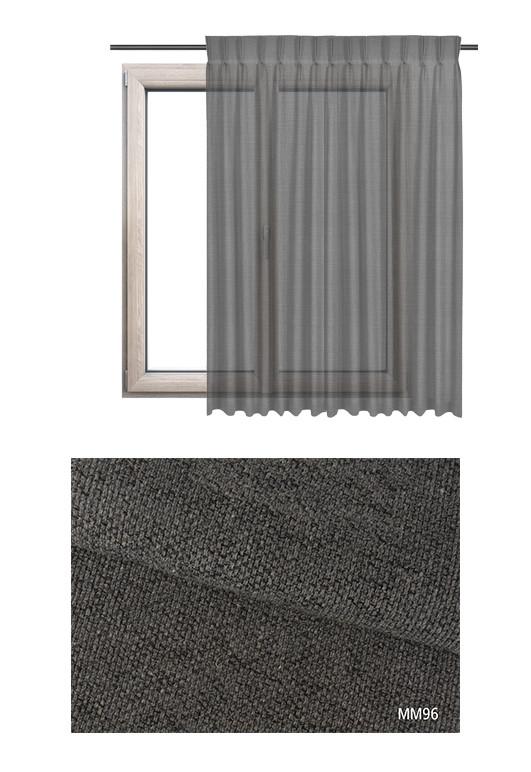 Zasłona na haczykach microfleks w półprzeziernej tkaninie o ciemno szarym odcieniu (MM96) z kolekcji MIESZKANIE MARZEŃ na wymiar
