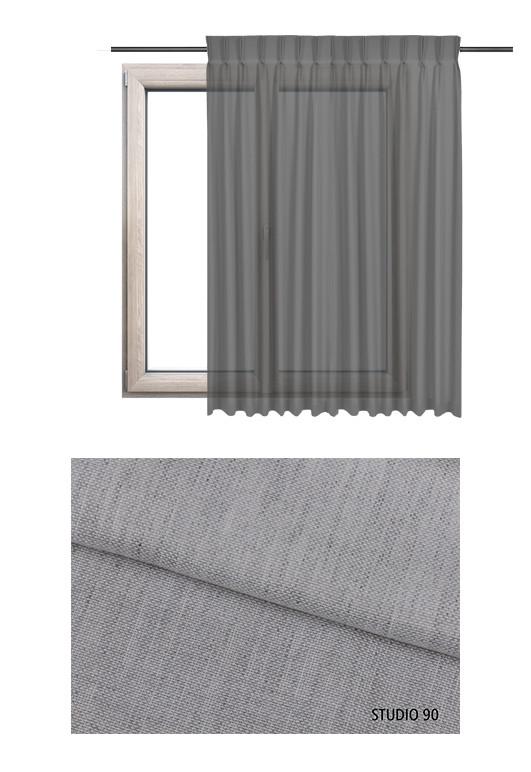 Zasłona transparentna na haczykach microfleks o szarym odcieniu (S90) z kolekcji STUDIO na wymiar.