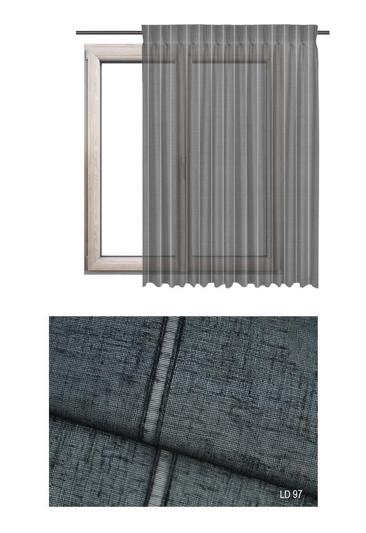 Zasłona transparentna na haczykach microfleks w ozdobnej tkaninie o ciemno szarym odcieniu (LD97) na wymiar.