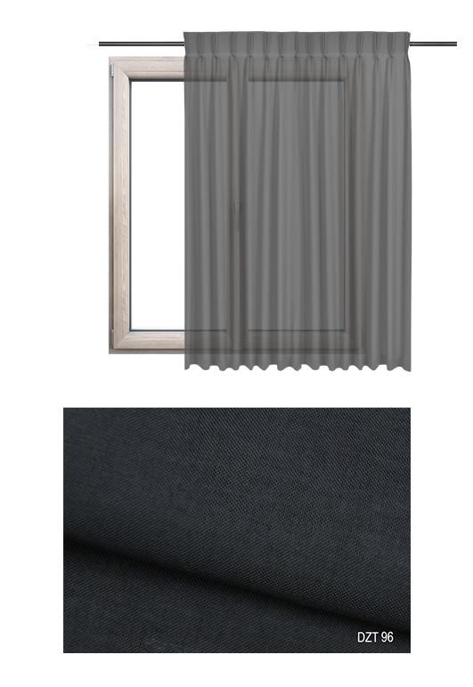 Zasłona transparentna na haczykach microfleks o czarnym odcieniu kolorystycznym (DZT96) na wymiar.