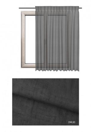 Zasłona transparentna na haczykach microfleks o ciemno szarym odcieniu (DWL93) z kolekcji DOMEK W LESIE na wymiar