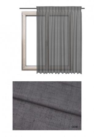 Zasłona na haczykach microfleks w delikatnej tkaninie z rzadkim oraz ozdobnym splotem w kolorze szarym (OD90) na Twój dokładny w