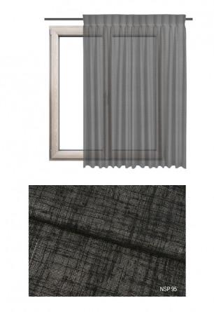Zasłona półprzezierna na haczykach microfleks o czarnym odcieniu (NSP95) z kolekcji NA SKRAJU PUSZCZY na wymiar.