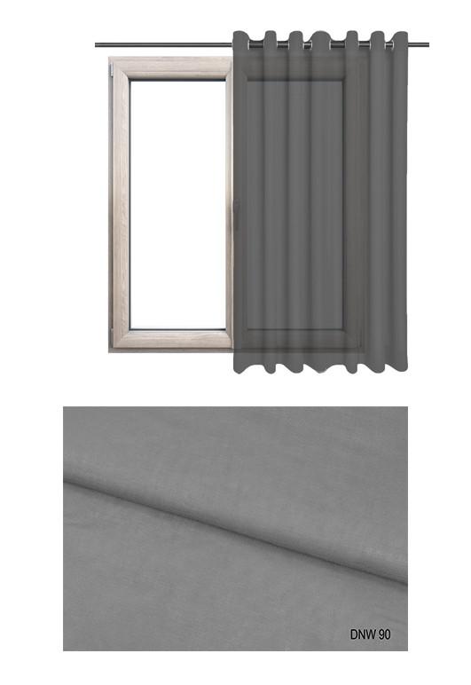 Zasłona półprzezierna na kołach o szarym odcieniu w kolekcji DOM NA WSI (DNW90) na wymiar.