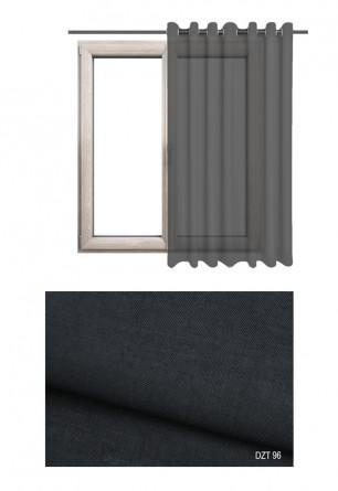 Gładka półprzezierna zasłona na kołach o czarnym odcieniu w kolekcji DOM Z TRADYCJAMI (DZT96) na wymiar