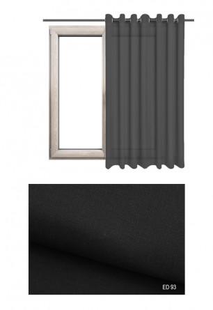 Lekko błyszcząca zaciemniająca zasłona na kołach o czarnym odcieniu (ED93) na wymiar