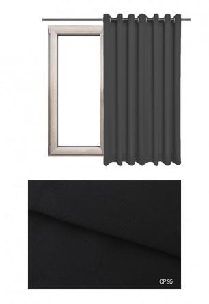 Zasłona na kołach 100% zaciemniająca w czarnym odcieniu (CP95) z kolekcji CICHA PRZYSTAŃ na wymiar