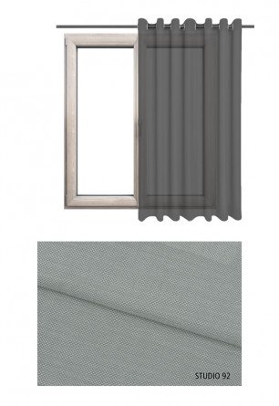 Zasłona transparentna na kołach w szarym odcieniu (S92) na wymiar.
