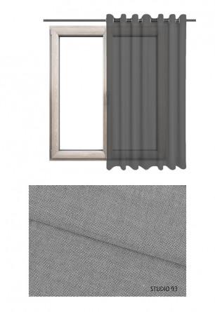 Zasłona transparentna na kołach w szarym odcieniu (S93) na wymiar.