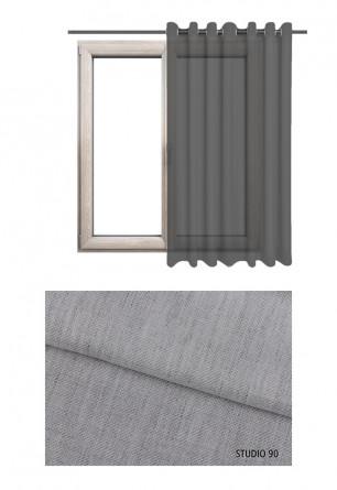 Zasłona transparentna na kołach w szarym odcieniu (S90) na wymiar.