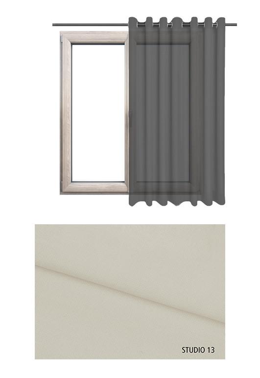 Zasłona transparentna na kołach w beżowym odcieniu (S13) na wymiar.