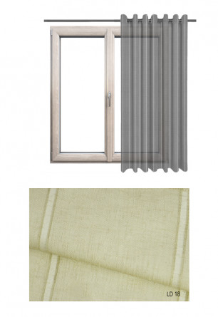 Ozdobna zasłona transparentna na kołach o beżowym odcieniu (LD18) na wymiar.