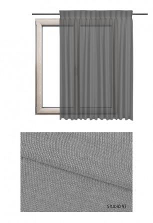 Zasłona transparentna na haczykach microfleks o szarym odcieniu (S93) z kolekcji STUDIO na wymiar.