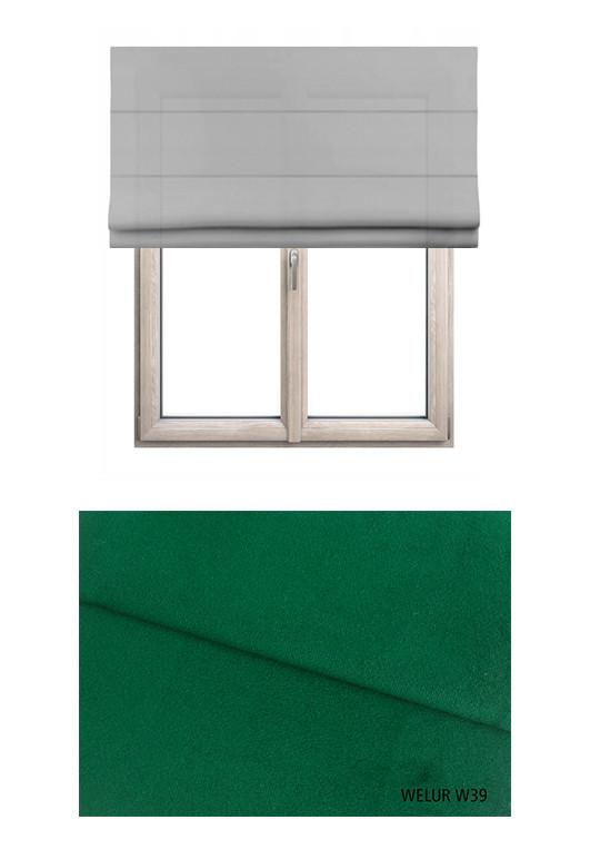 Roleta rzymska zaciemniająca o zielonym odcieniu kolorystycznym (W39) w kolekcji WELUR na wymiar.