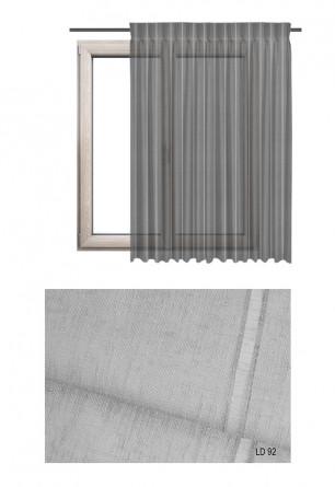 Zasłona transparentna na haczykach microfleks w ozdobnej tkaninie o szarym odcieniu (LD92) na wymiar.