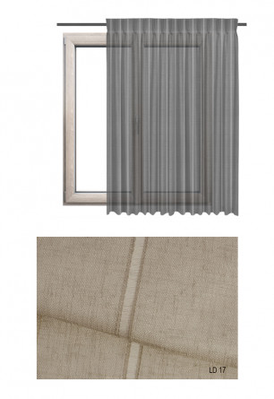 Zasłona transparentna na haczykach microfleks w ozdobnej tkaninie o brązowym odcieniu (LD17) na wymiar.