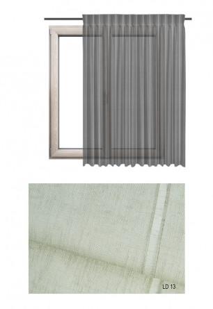 Zasłona transparentna na haczykach microfleks w ozdobnej tkaninie o piaskowym odcieniu (LD13) na wymiar.